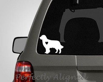 Love your Golden Retriever - silhouette with heart vinyl car decal - pet decal, dog decal, macbook decal, etc...