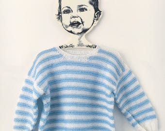 Vintage white blue striped sweater