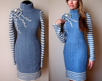 knit dress pattern,detailed tutorial,winter dress PDF,knit winter dress,knit midi dress PDF,knit pattern,warm dress tutorial,knit flower PDF
