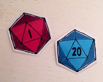 D20 and D1 vinyl dice stickers, 5cm, blue and red