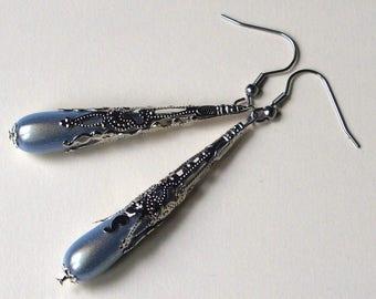 Earrings long Pearl drops hand made silver light blue