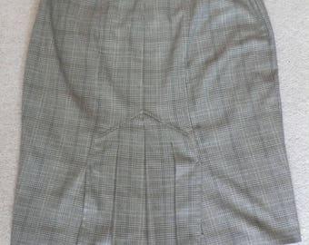 Next pencil fishtail skirt lightweight tweed check uk 14 steampunk