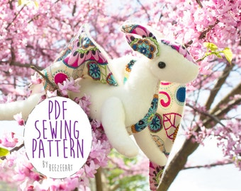 Jointed Dragon Plush Stuffed Animal Sewing Pattern