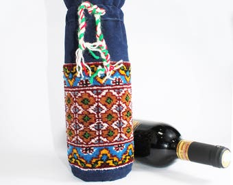 Handmade Wine Bottle Cover Oriental Mini Rug