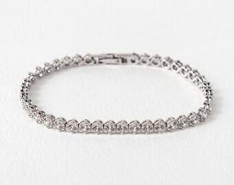 Stackable Silver Bracelets,Bridal Jewelry, CZ Wedding Accessories, Bridal Bracelet, Swarovski Crystal Jewelry Silver, Tennis Bracelet, B245S