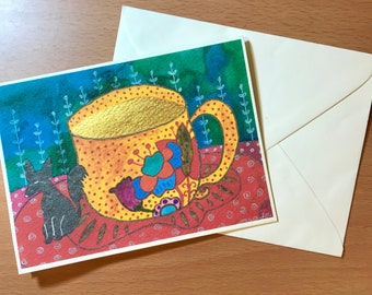 Blank Note Card Printed with Original Art, Comes with Envelope -  Gold Coffee Cup with Magical Creature
