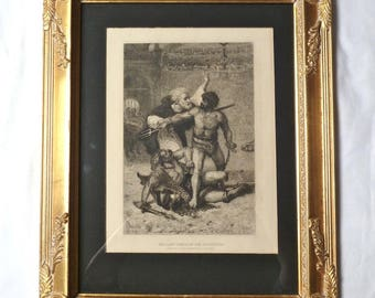 "J. Stallaert 1884 ""The Last Combat of the Gladiator"" antique ETCHING ENGRAVING plaster wood gold gilt framed"