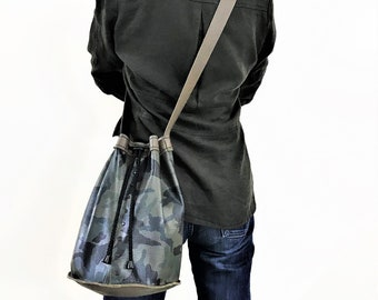Bucket bag. Leather handbag. Leather cross body bag. Camouflage color bag. Leather tote. Leather shoulder bag.