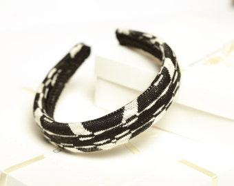 Black and white padded headband Women padded headband Winter headband Ladies headband