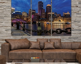 Boston Skyline Canvas Set, Large Wall Art Of Boston Print, Boston Canvas,  Boston