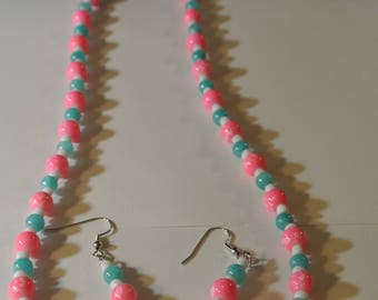 Cotton Candy Pink Beads with Light Blue and White Beaded Necklace