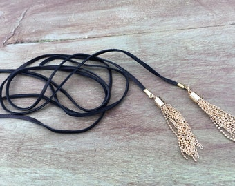 Leather Tassel Wrap Necklace, Leather Wrap Necklace, Leather Tassel Lariat, Black Leather Lariat, Black Tassel Wrap Necklace, Tassel Lariat