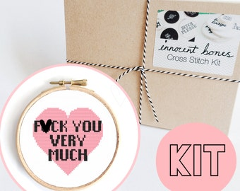 F*ck You Heart Modern Cross Stitch Kit - easy chart design guide great for beginners - naughty mature bad taste funny slogan embroidery kit