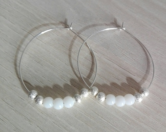 Silver hoops, thin, with white freshwater pearls and silver snowflake beads