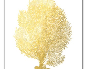 Gold Foil Coral Art Print, Gold Print, Gold Art, Nautical Decor, Gold Art Home Decor, Prints, Beach Art, Beach Wedding Art