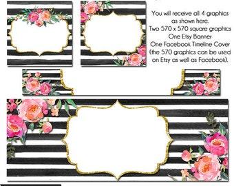 Esty Floral set, DIY Etsy and Facebook Set, DIY Graphics, Oh Kate , Striped FB Set, Watercolor Etsy Set, Premade Etsy Set
