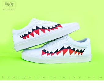 Custom Bape Vans Shoes with Initials - Hand Painted Shark Teeth - White Old Skools with Teeth Painting and Initials on Heels