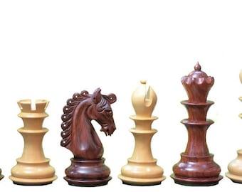 "The Hurricane Series Staunton Luxury Chess Set Bud Rose & Box Wood - 4.7"" King SKU: S1204"