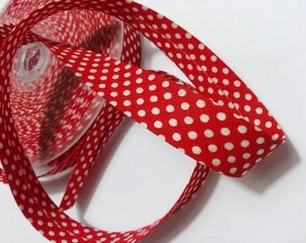 Bias folded red polka dots width 18 mm creation vintage customisation width 1.8 cm by 50 cm