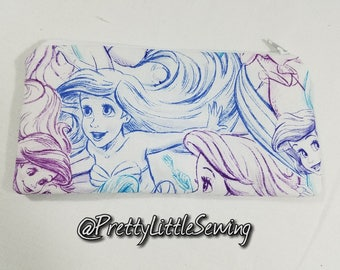 Disney Little Mermaid  Wallet, Money Envelope, Coupon Holder, Mini Makeup Bag, Pencil Case.