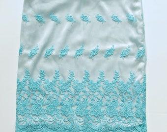 Elegant Blue Bohemian Lace Satin Layered Embroidered Boho Pencil Skirt