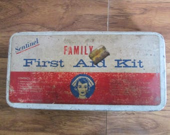 Vintage Sentinel First Aid Kit, First Aid Tin, Home and Health Kit,