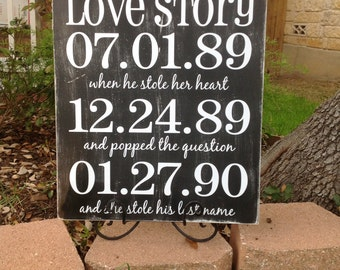 WEDDING Important Date Sign |  Love Story |Shabby Chic | Black & White | Bridal Shower Gift | Engagement gift | New Couple gift