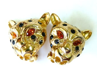 Vintage Clip on Leopard Earrings Gold with Swarovski Crystal GRAZIANO