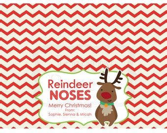 INSTANT Download-Christmas Treat Bag Tags: Reindeer Noses - Printable PDF