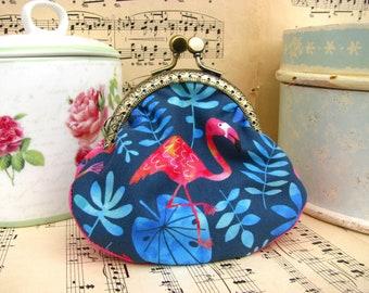 Coin purse clutch in aqua with flamingos, kiss lock purse