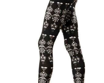 Yoga Leggings, Psytrance Leggings, Monkey Galaxy Leggings, Yoga Pants, Print Leggings, Festival leggings, Unique leggings, Boho Leggings