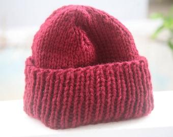 Hand Knittted Beanie Hat. Wine Merino Hat. Ready to Ship.