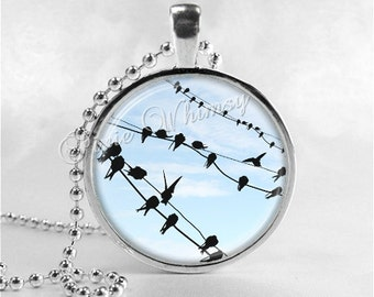 BIRDS On A WIRE, Bird Necklace, Bird Pendant, Bird Jewelry, Bird Charm Photo Art Glass Necklace Pendant Charm