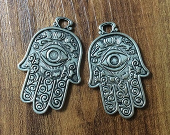 10pcs Hamsa hand Pendants Hamsa Hand Charms  for Evil Eye Jewelry Evil Eye Bracelet Evil  Eye Pendants