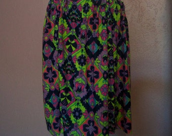 Groovy 1960s ~ Psychedelic Mid Century Skirt or Yards of fabric! ~  MCM Maxi Skirt