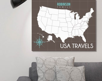 United States Map, Unites States Travel Map, Canvas USA Map, Map USA // H-I04-1PS AA2 OP26