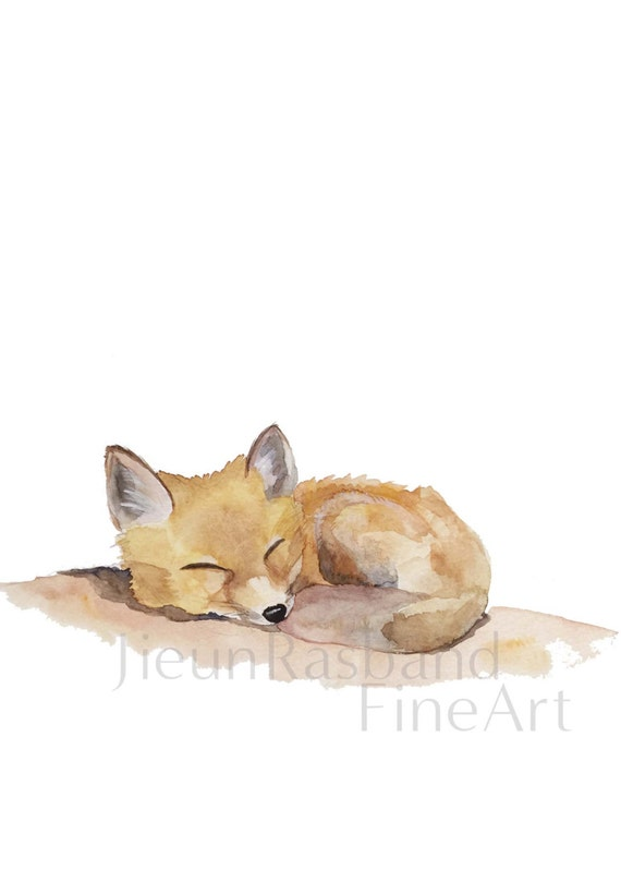 Items Similar To Sleeping Baby Fox Instant Print