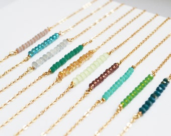 Crystal Bar Necklace, Beaded Necklace, Gold Bar Necklace, Bar necklace personalized, Crystal Necklace, Crystal Pendant, Dainty Necklace.