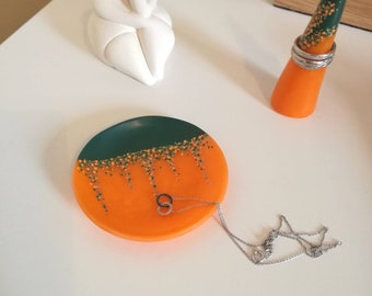 Polymer clay trinket dish, painted ring dish