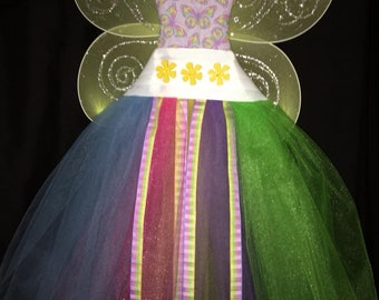 Tutu Hair Bow Holder Rainbow Butterflies