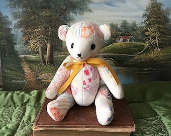 Lovely Vintage Patchwork Teddy Bear