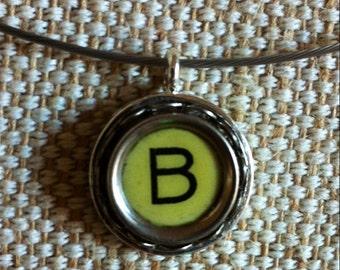 Cream letter B key   typewriter key pendant   silver tone pendant on silvertone neckwire   monogram pendant