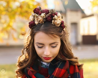Dark red vinous and gold autumn floral circlet, bordeaux bridesmaid wreath, halo, headband accessory, wine, burgundy, big flowers, rosewood