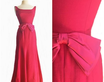 Vintage 1960's Hot Pink Mermaid Gown/ raspberry maxi dress/ long cocktail dress/ large bow/ built in crinoline/