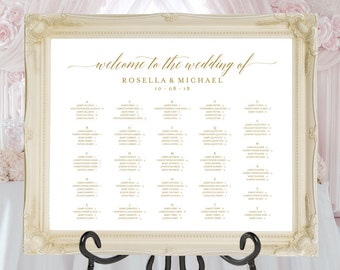 Gold Wedding seating chart, printable seating chart, Seating Chart Template, Seating Board,Find your seat sign, guest list board, WPC_58SD1C