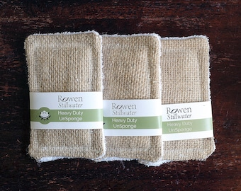 UnSponge Heavy duty - zero waste reusable hessian sponge three pack / plastic free / pan scrubbers / scourers / eco sponge