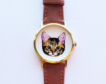 Cat Watch, Vintage Style Leather Watch, Women Watches, Unisex Watch, Boyfriend Watch, Mens Watch, Ladies Watch, Cat lover Gift, Cat Jewelry