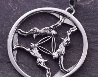 Three Hares Silver Pendant