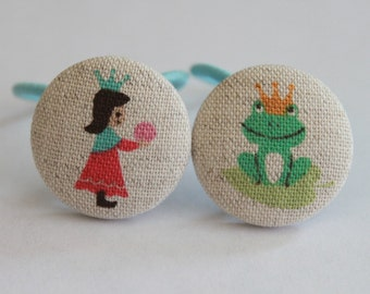Fairytale Frog and Princess-------2 ponytail holders