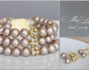 Bridal Jewelry Bracelet and Earrings, Almond Powder Swarovski Pearl Bridal Jewelry Bracelet, Pearl Earring, art. e22-b06